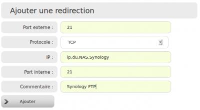 Redirection FTP Freebox