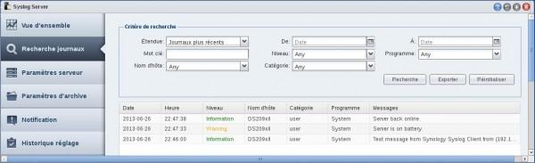 Journaux Syslog Server