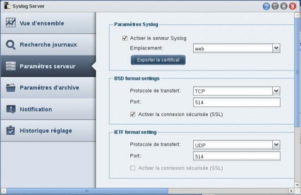 Paramètres Syslog Server